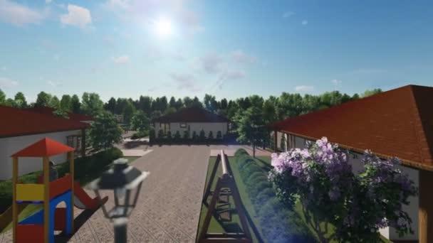 Rezidenční vilový komplex s lidmi, relaxační, ráno