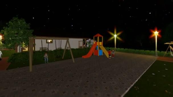 Rezidenční vilový komplex s lidmi relaxační, hvězdnou oblohu, fly cam