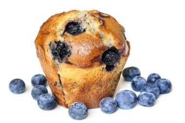 Blueberry Muffin Isolated on White