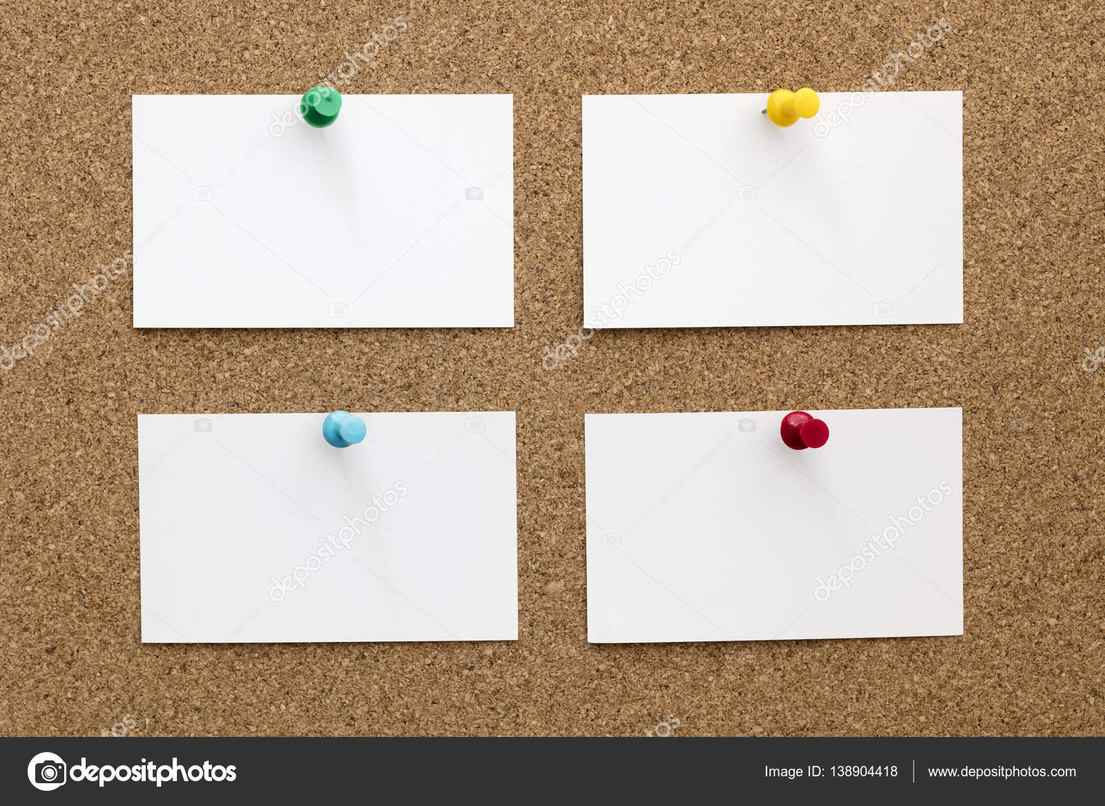 Four Blank Business Cards Pinned to Cork Board — Stock Photo ...