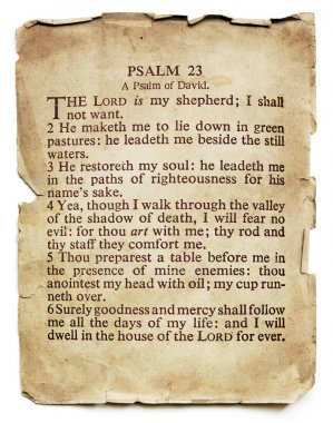 Psalm 23 on Old Paper Isolated