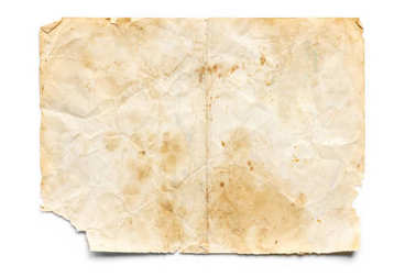 Old Stained and Torn Paper isolated on White