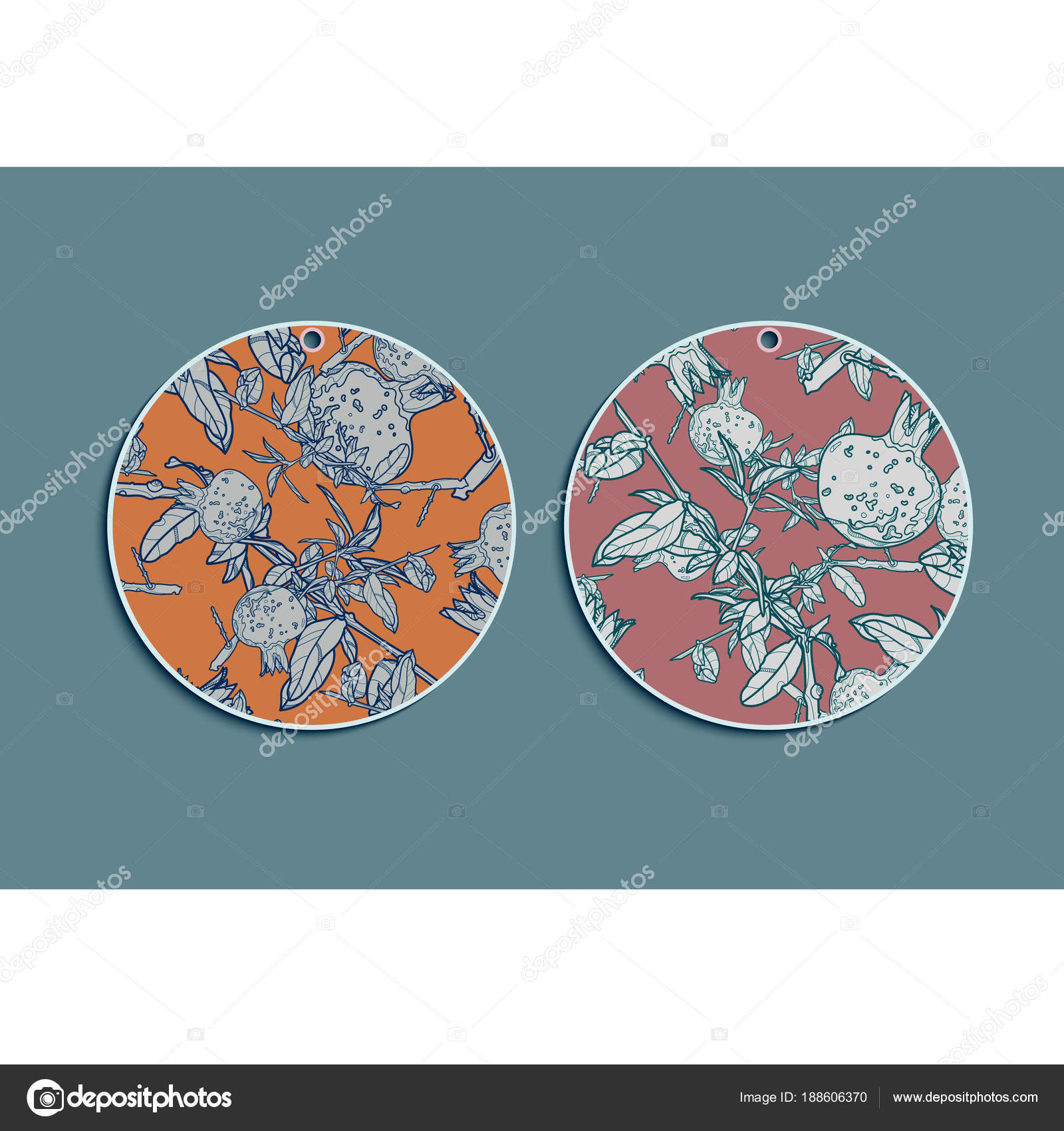 set of summer round gift tags with pomegranate stock vector
