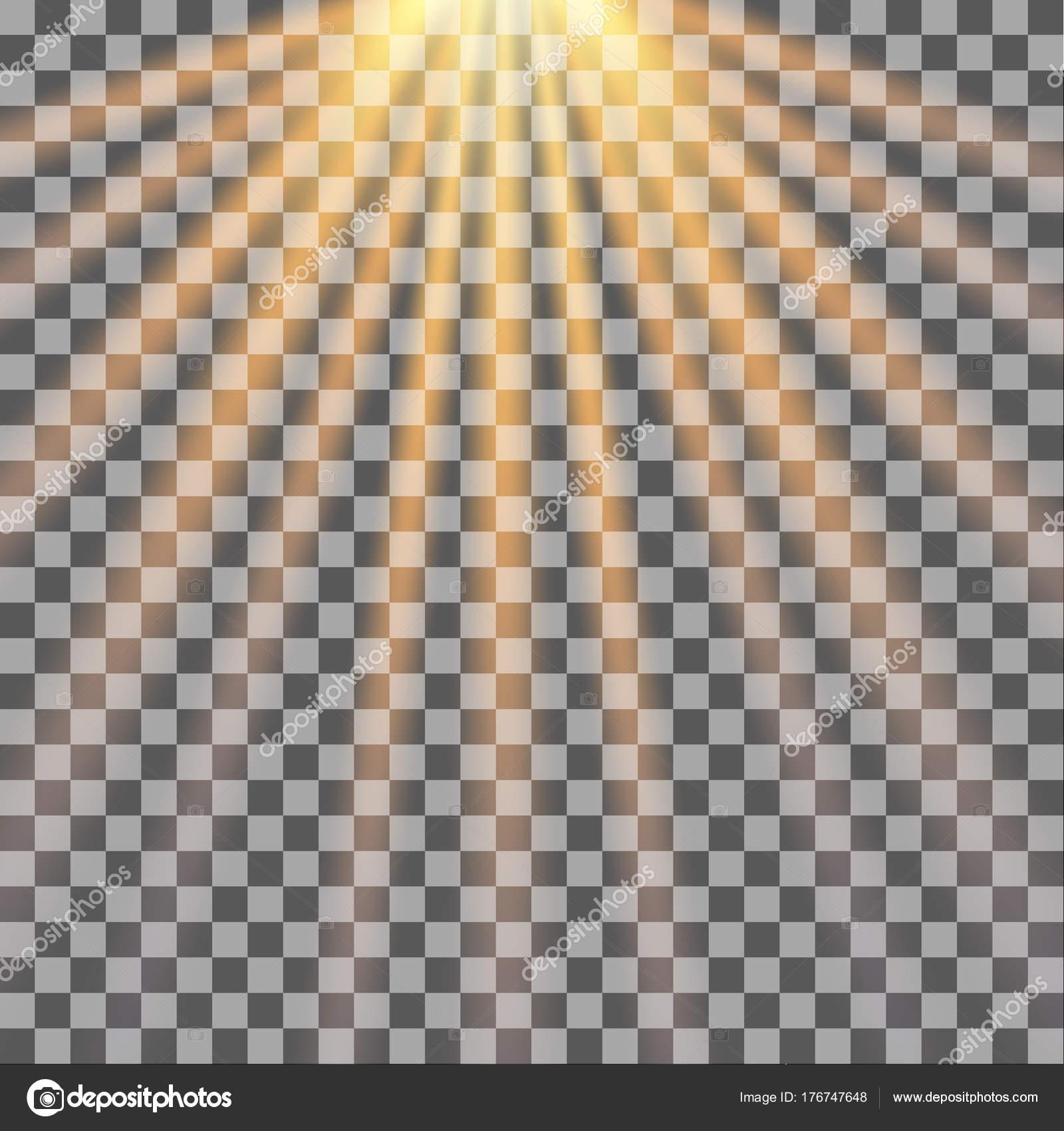 Sun Rays Transparent Background Sunlight Vector Illustration Stock