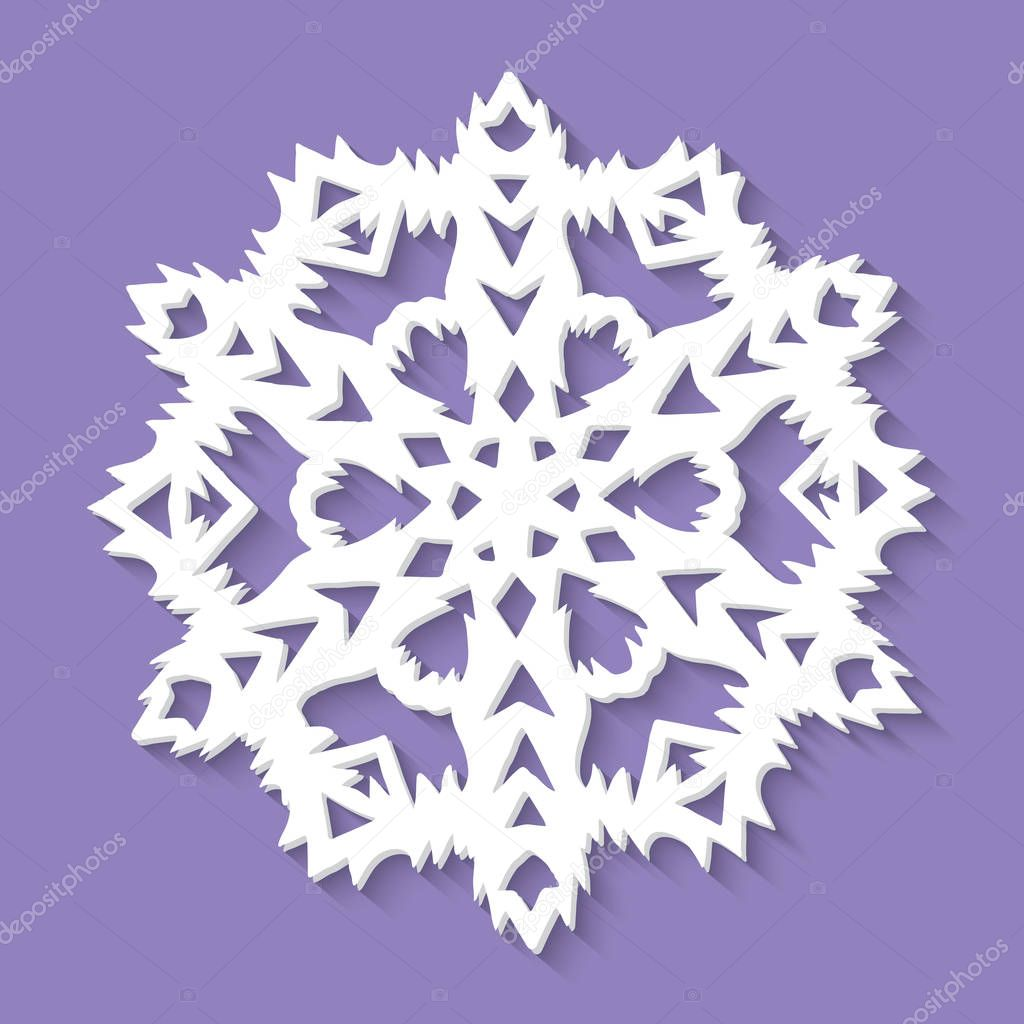Christmas paper snowflake on ultra violet background. Vector illustration