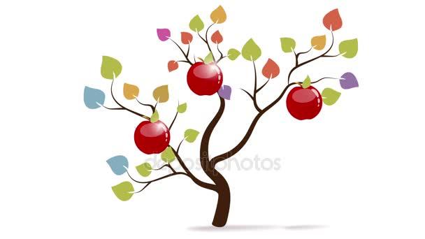 Árbol de manzana de colores — Vídeo de stock © megija #130060030