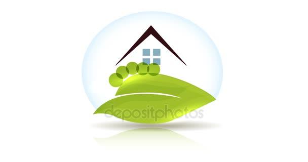 Vybudovat abstraktní dům a zahradní design, zelené rostliny a stromy, denní a noční