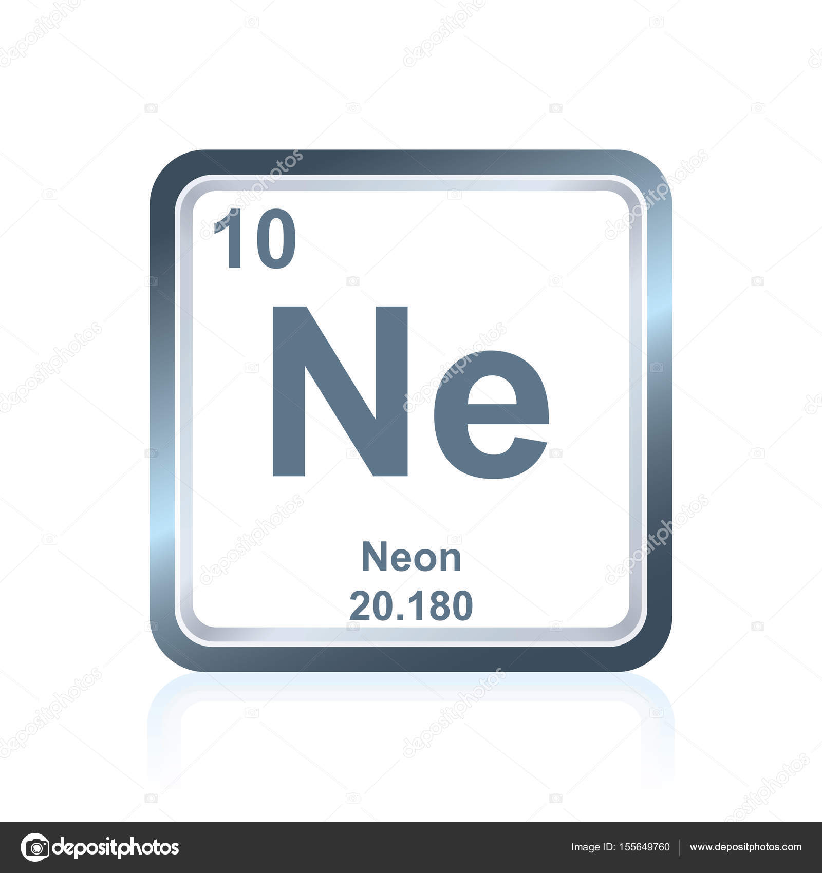 symbol of chemical element neon as seen on the periodic table of the elements including atomic number and atomic weight vector by noedelhap - Periodic Table Of Elements Neon