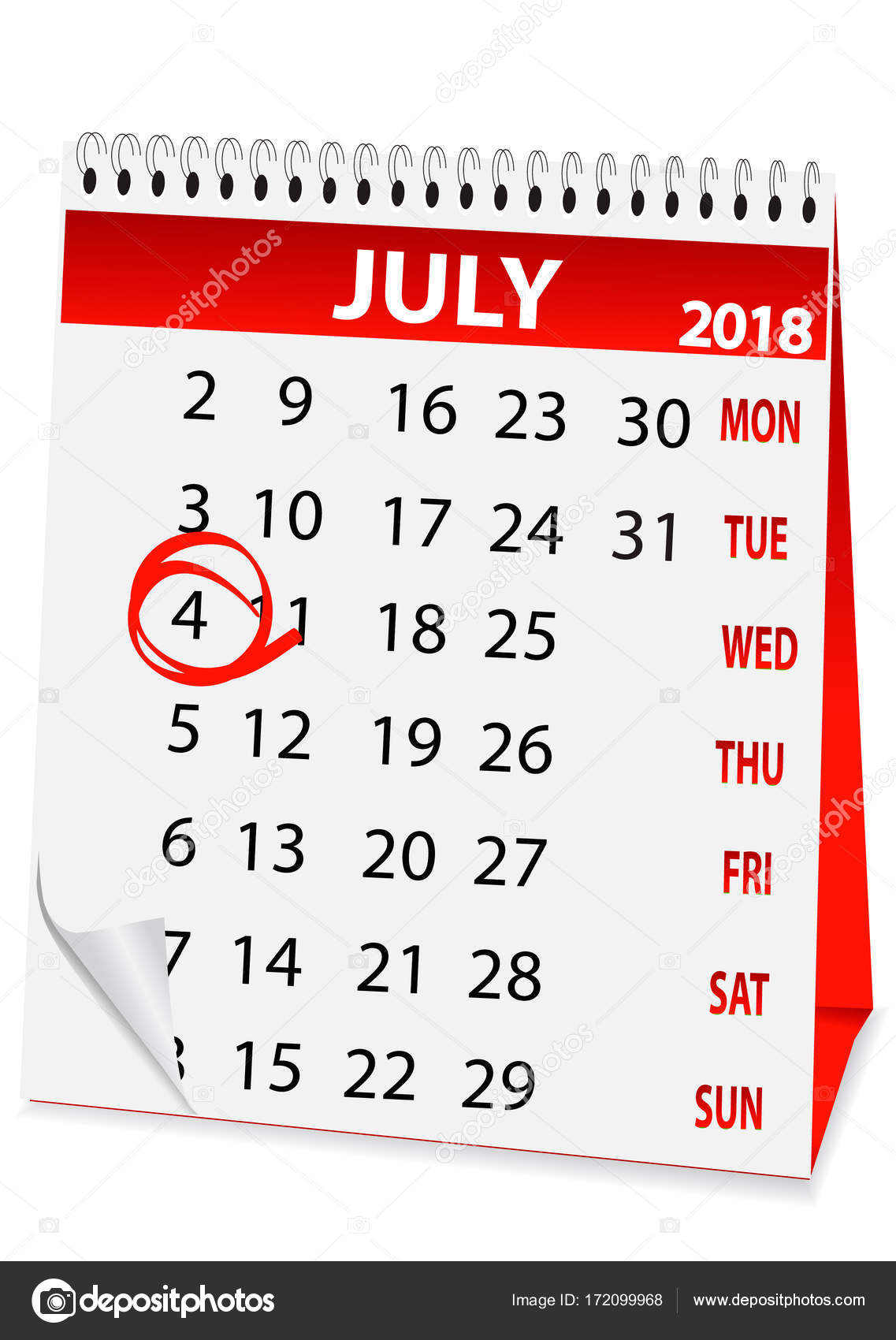 symbol kalender f r 4 juli 2018 stockvektor rodakm. Black Bedroom Furniture Sets. Home Design Ideas