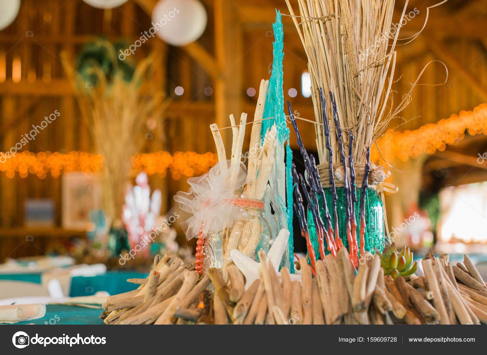 Beach Themed Ocean Wedding Reception Decorations Stock