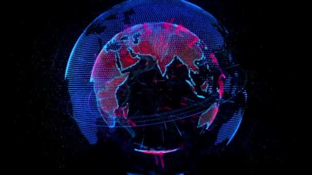 Neon rotating planet Earth
