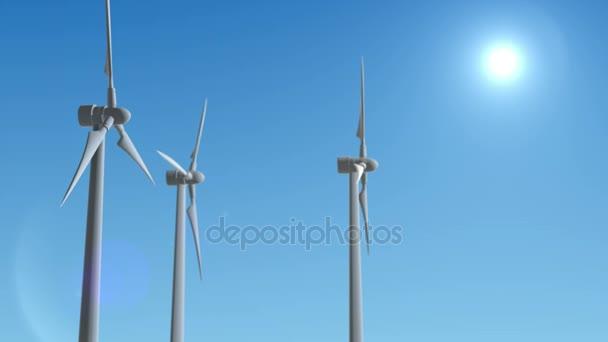 Wind Turbine generátor 3d vykreslení opakování animace