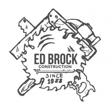 Construction Company Label and Badges. Vector