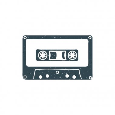 Hand drawn 90s themed badge with audio cassette tape textured. Vector