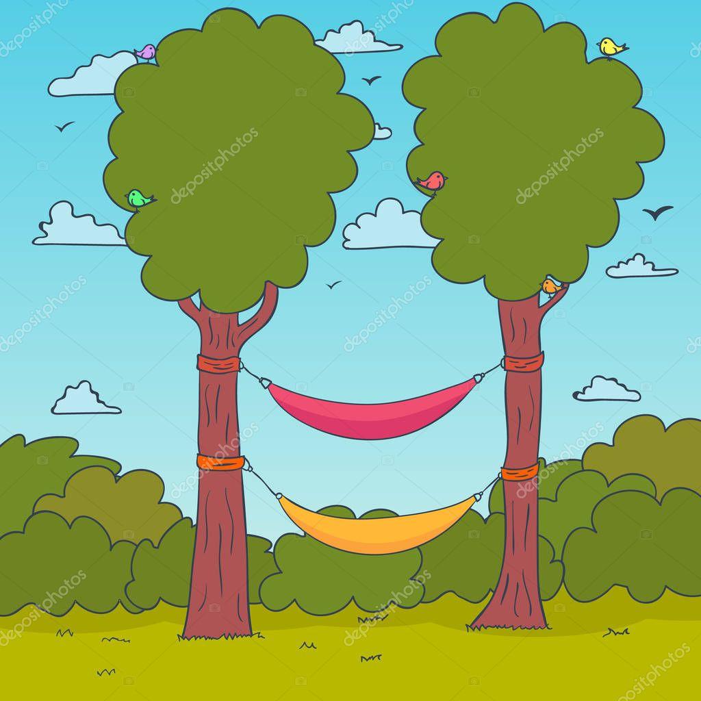 Cartoon Nature Background. Hammocks on a tree. Vector