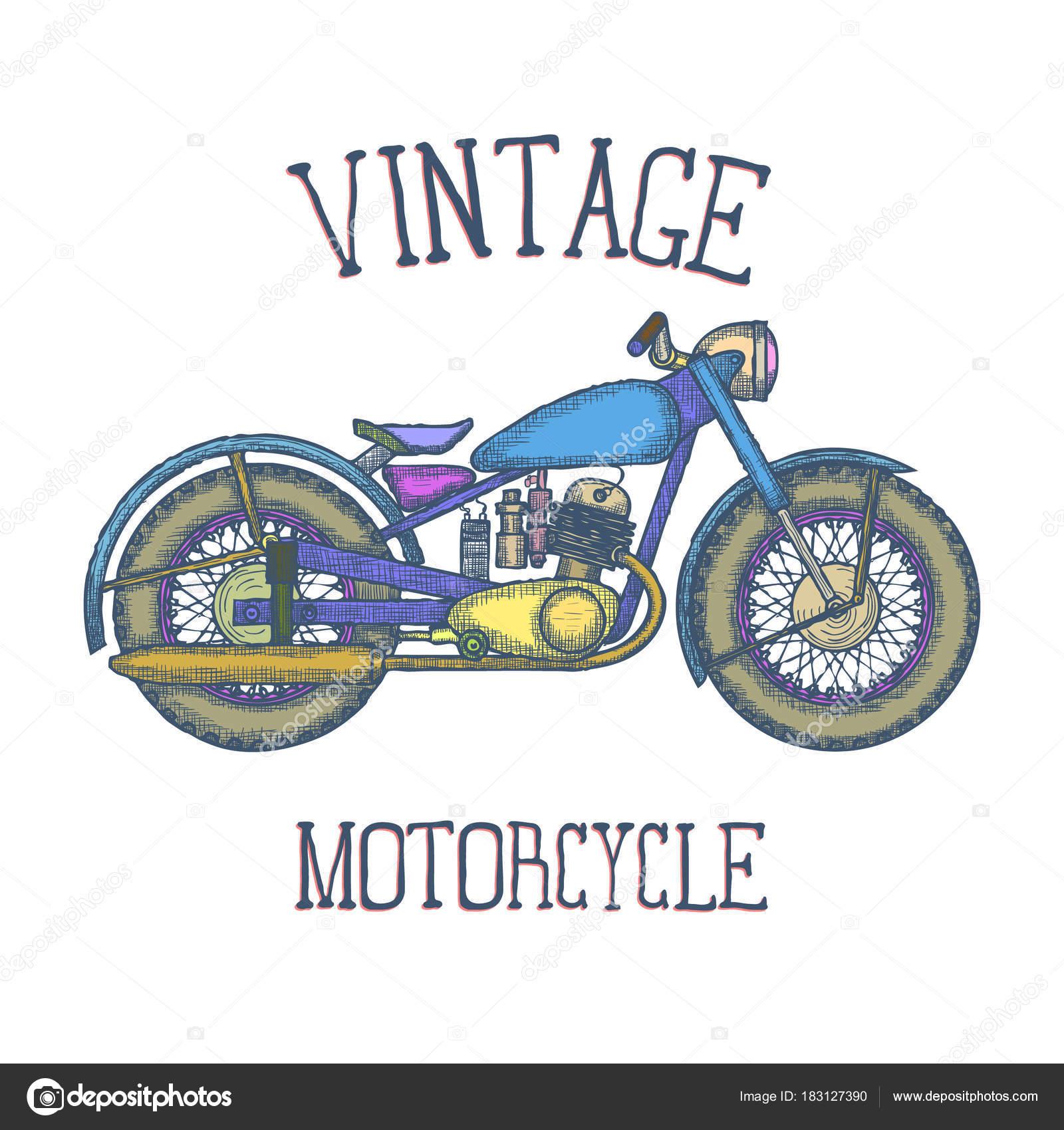 Hand gezeichnet Vintage Motorrad Vektor-Logo Design-Vorlage ...