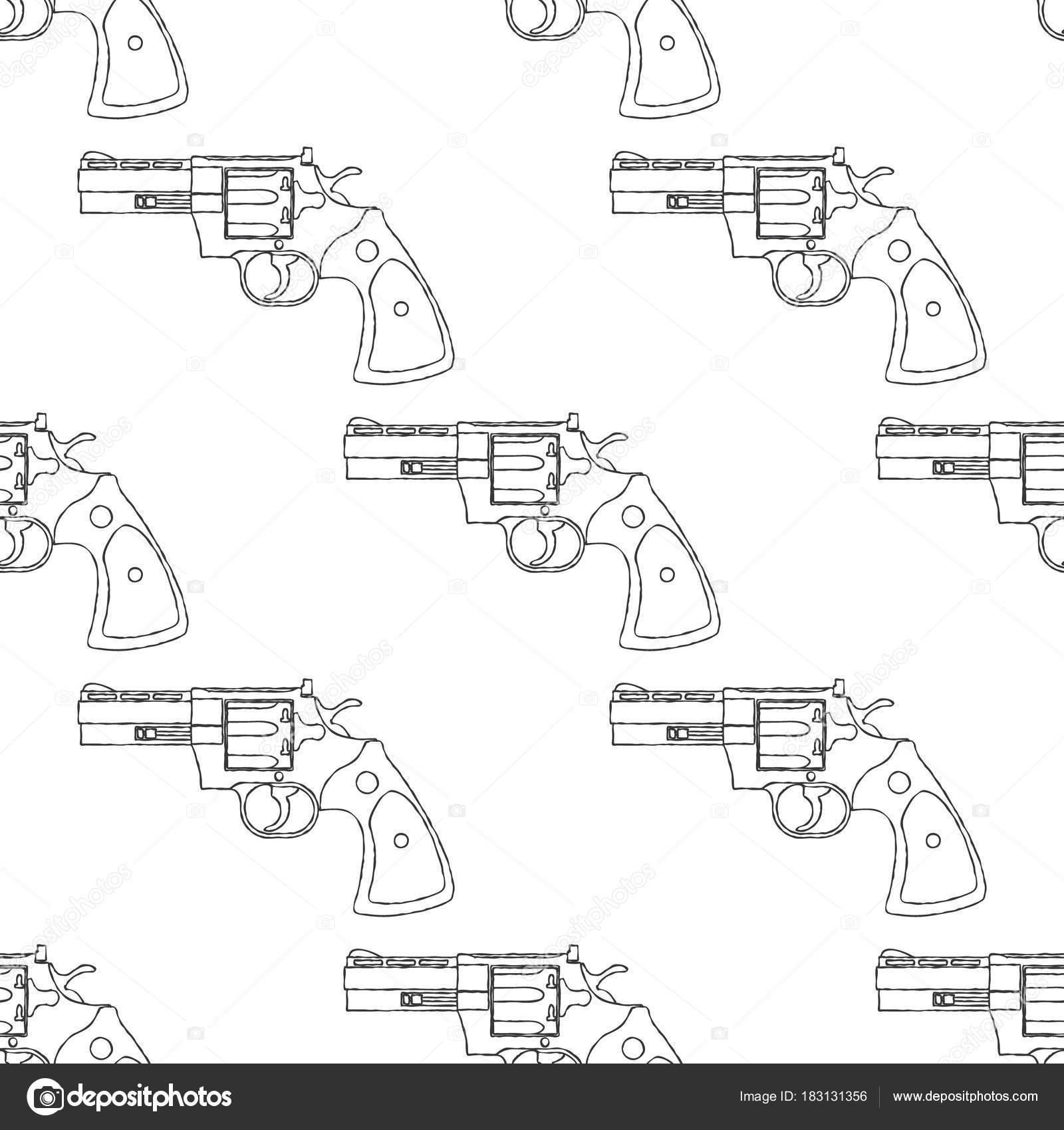 Vintage Revolver Geweer Vuurwapen Pistool Naadloze Patroon Vector