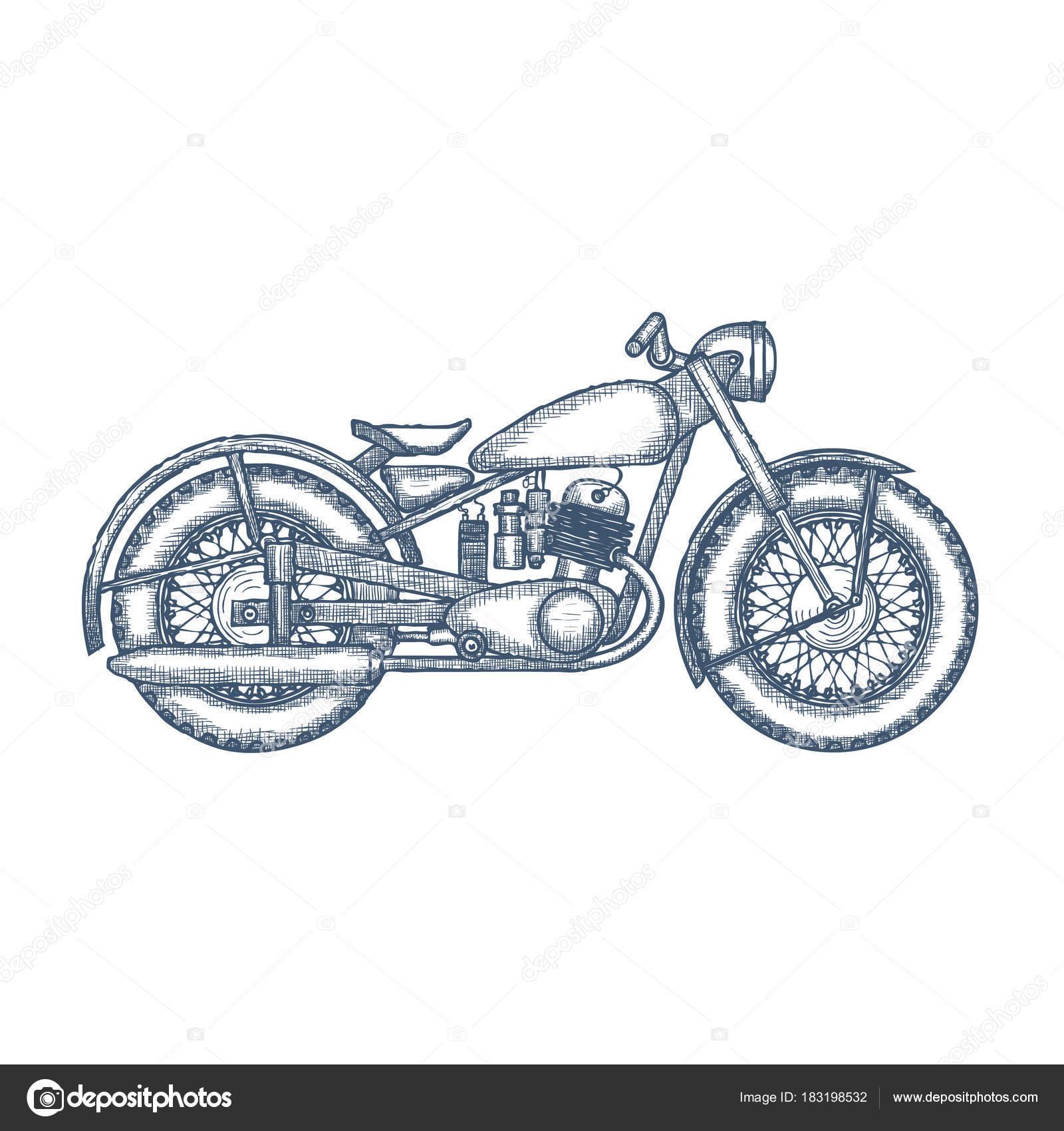 Hand gezeichnet Vintage Motorrad-Vektor-Logo-design — Stockvektor ...