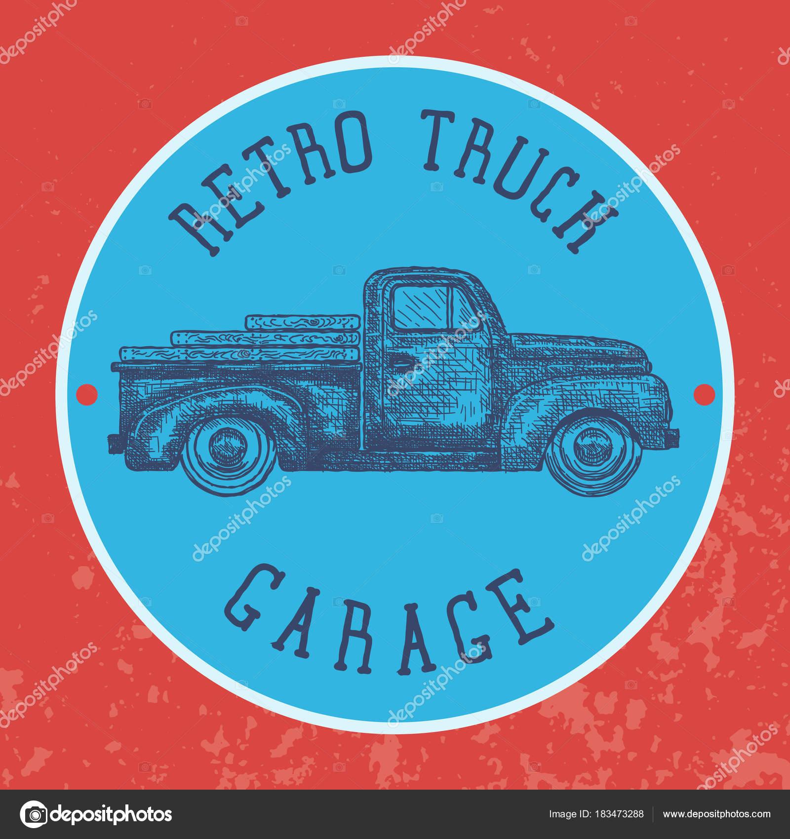 Vintage Garage Background Old Retro Pick Up Truck As A Symbol Of