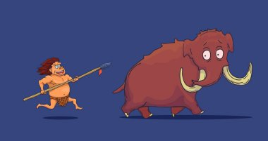 Cartoon Caveman with Spear hunting Mammoth. Vector