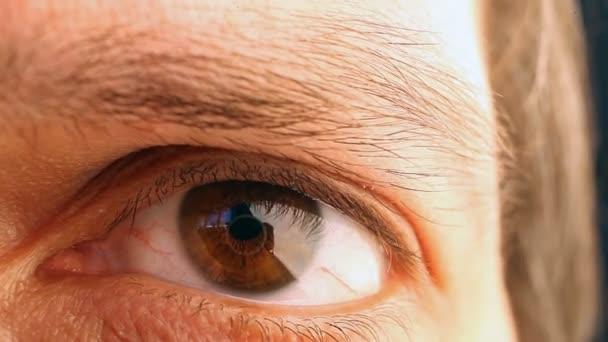 Makro snímek mužské oko.