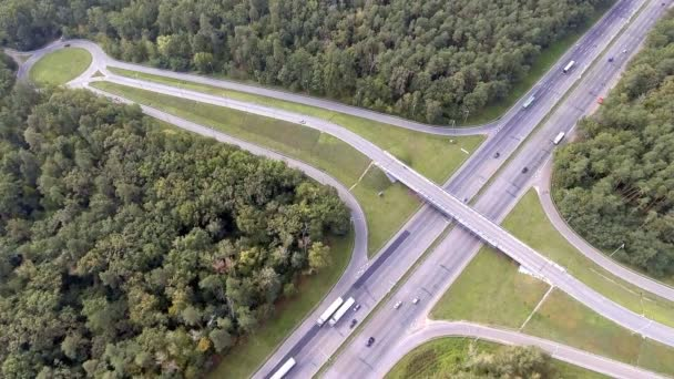 Aerial shot of motorway, freeway traffic - trucks and cars on the road