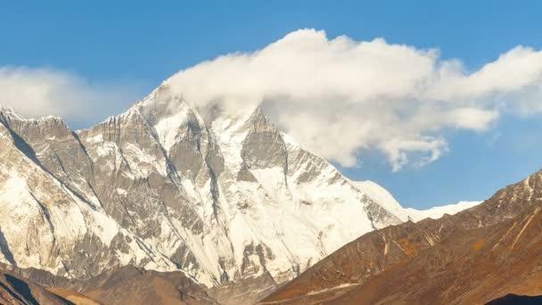Timelapse Golden Everest, Himálaj, krajina mezi cestu na Everest Base Camp,Nepal.Snow limitovaný vrchol nejvyšší hory na světě