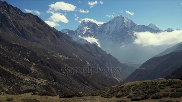Panoramic view of mountains in Himalayas, Nepal, on the hiking trail leading to the Everest base camp.