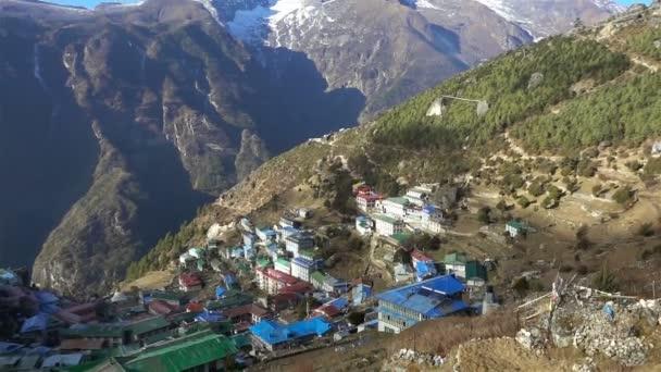 Panoramatický pohled Namche bazar, Everest trek, Himálaj, Nepál