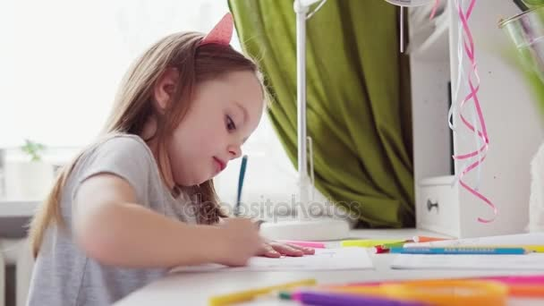 Cute little girl drawing