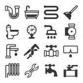 Instalatérské ikony nastavit na bílém pozadí. Vektor