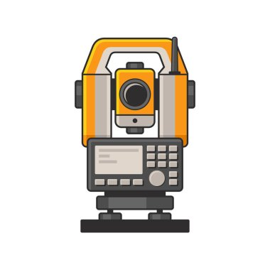 Geodetic Optical Measuring Laser Level Devices. Tachymeter, Theodolite Icon. Vector