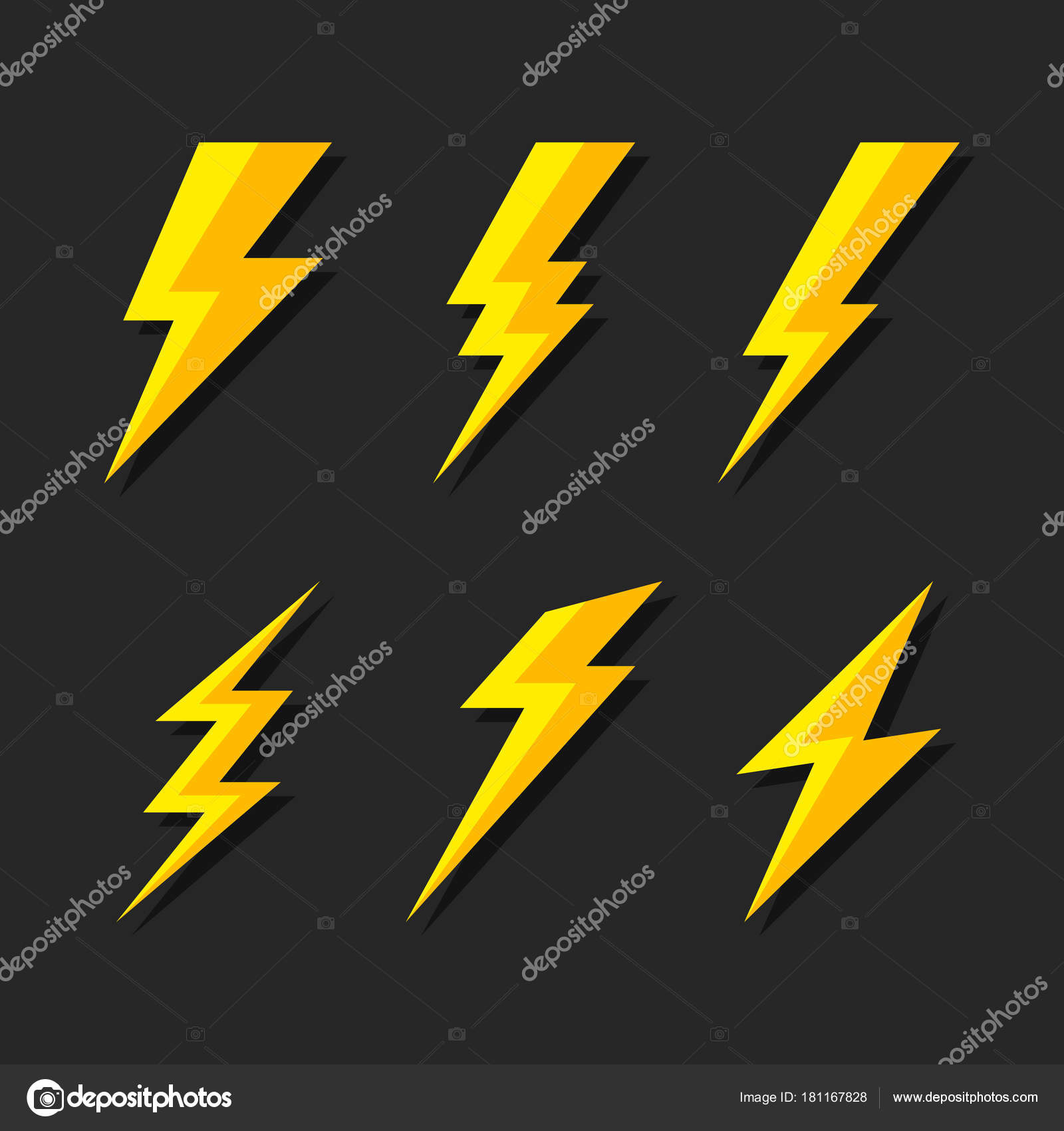Donner Und Blitz Beleuchtung Flash Icons Set. Flat Style Auf Dunklem  Hintergrund.
