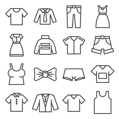 Clothing Icons Set on White Background. Line Style Vector