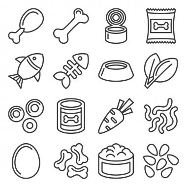 Pet Food Icons Set on White Background. Line Style Vector