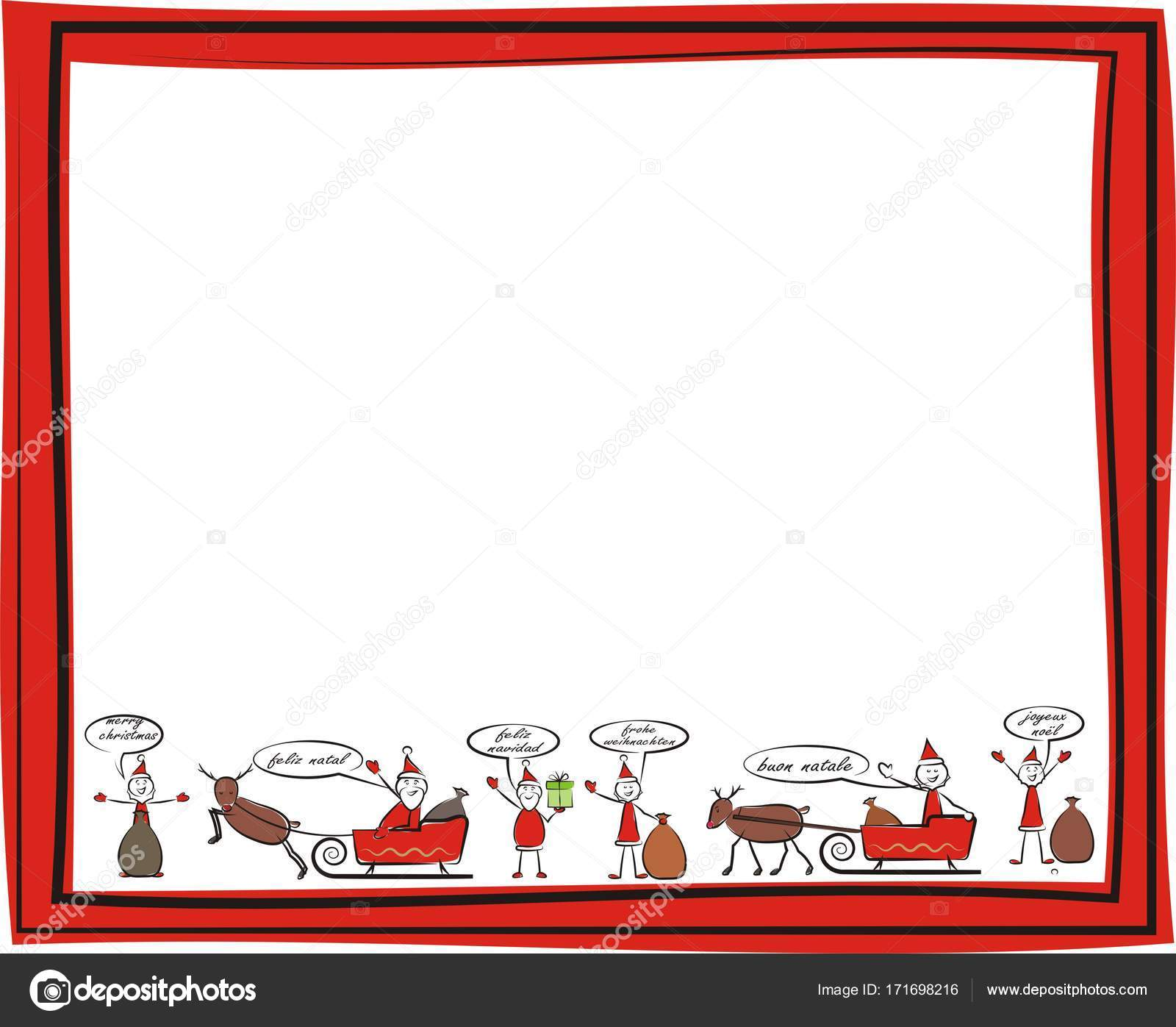 christmas frame - merry christmas in different languages — Stock ...