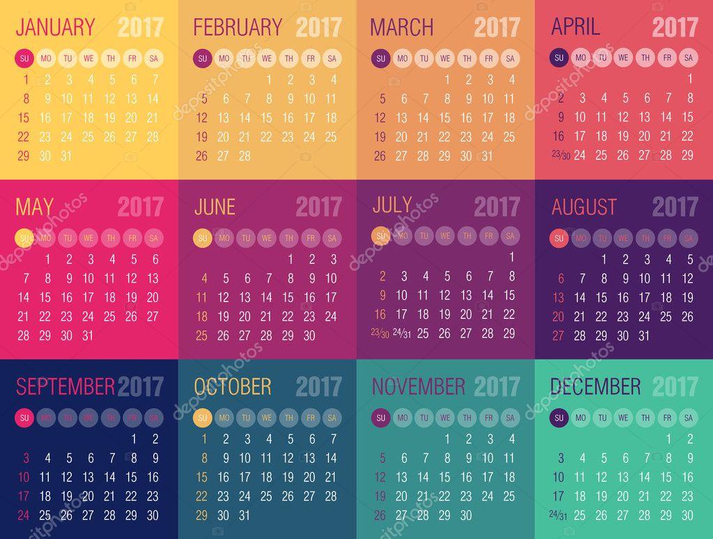 Calendario Anno 2017.Calendario Anno 2017 Inizio Di Settimana Da Domenica