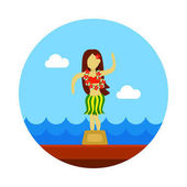 Hula-Tänzer Statuette Ikone. Sommer. Urlaub