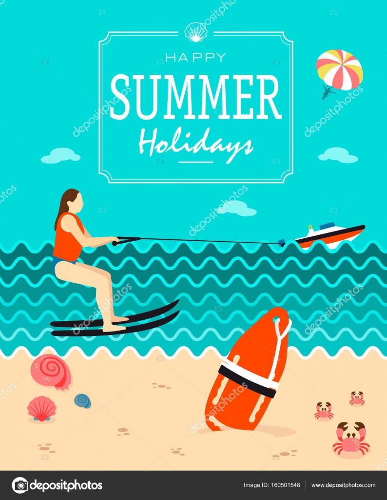 Sommer Urlaub Plakat Vektor Vorlage — Stockvektor © ayra #160501548