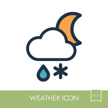 Cloud Snow Rain Moon icon. Weather