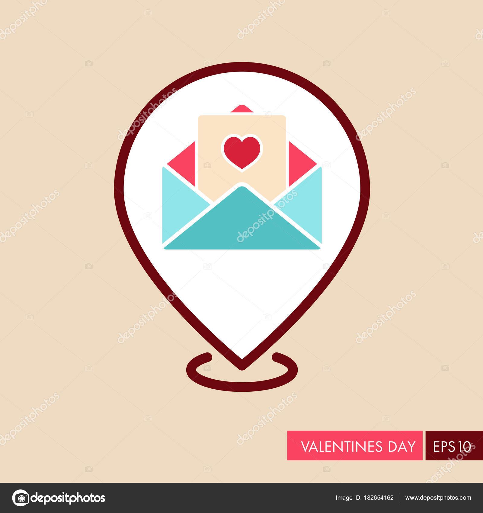 0f858247f107 Feliz dia dos namorados cartão no ícone do envelope do pin mapa — Vetores  de Stock