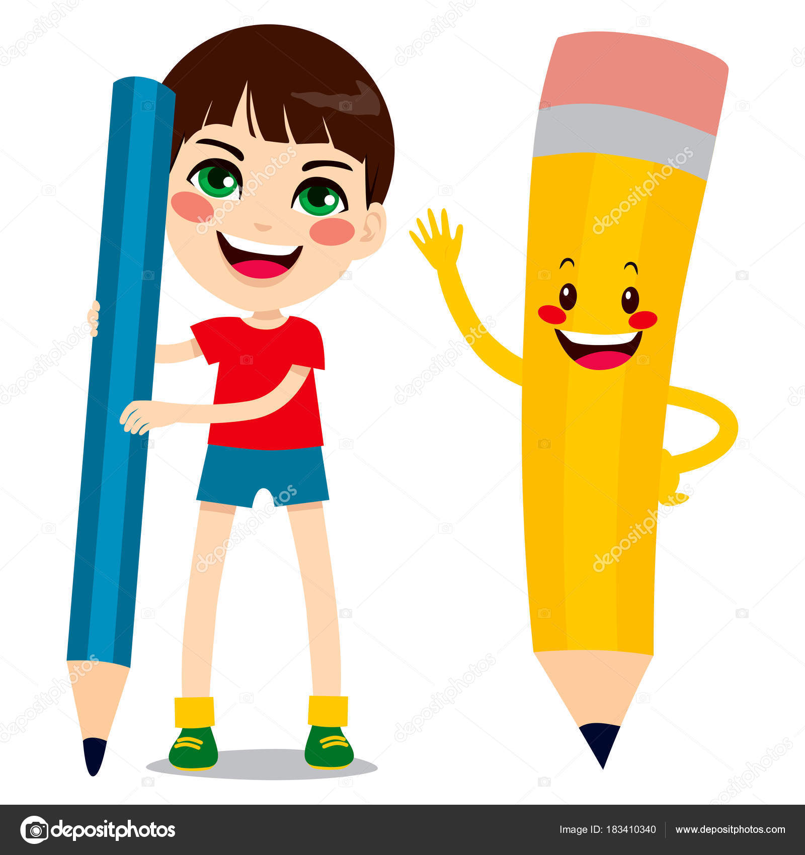 Boy and pencil character stock illustration