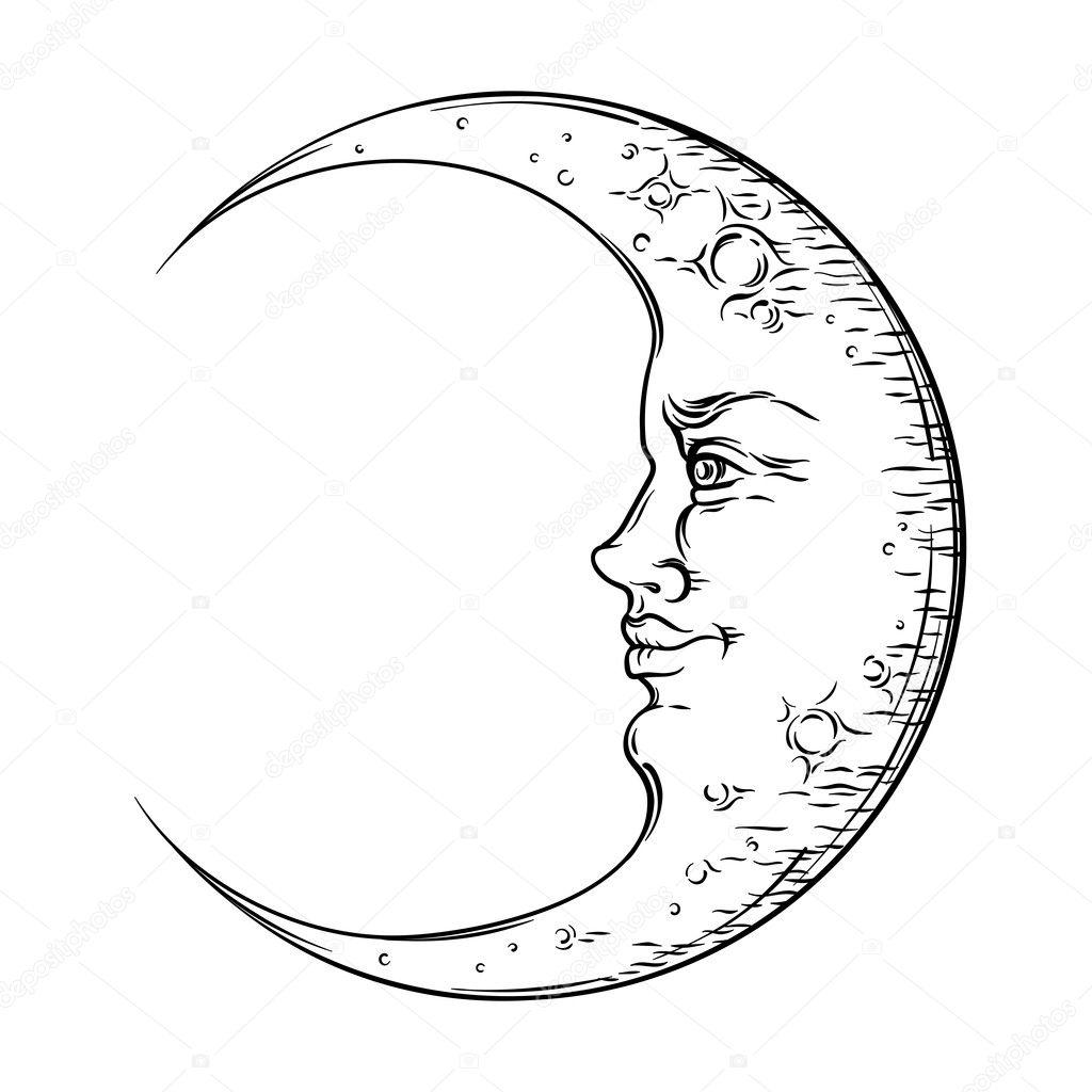 Antique Style Croissant De Lune Art Dessiné à La Main Boho