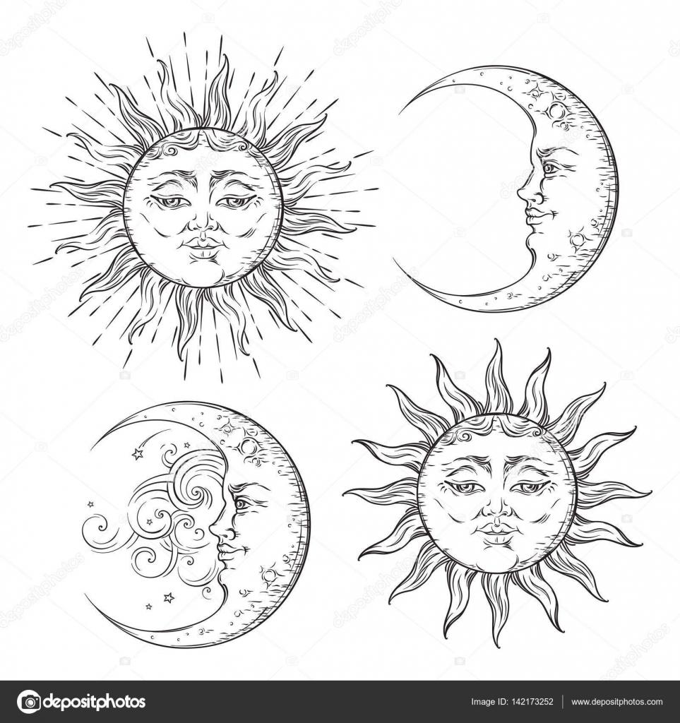 Boho Chic Flash Tattoo Design Dessinés à La Main Art Soleil