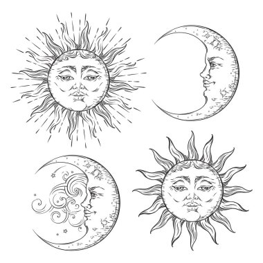 Boho chic flash tattoo design hand drawn art sun and crescent moon set. Antique style sticker design vector isolated on white background
