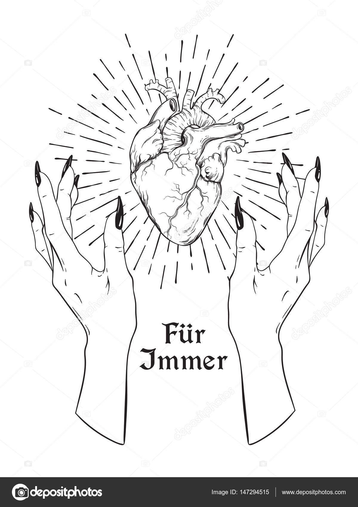 Corazón humano en manos mujer agraciadas aislado. Etiqueta, la letra ...