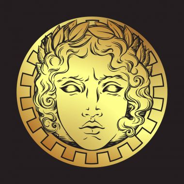 Hand drawn antique style sun with face of the greek and roman god Apollo. Flash tattoo or print design vector illustration.
