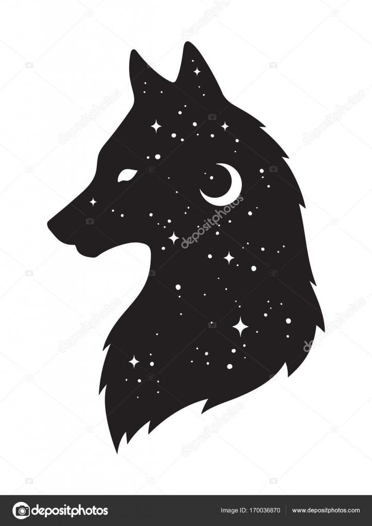 silhueta de lobo com a lua crescente e estrelas isoladas ilustração