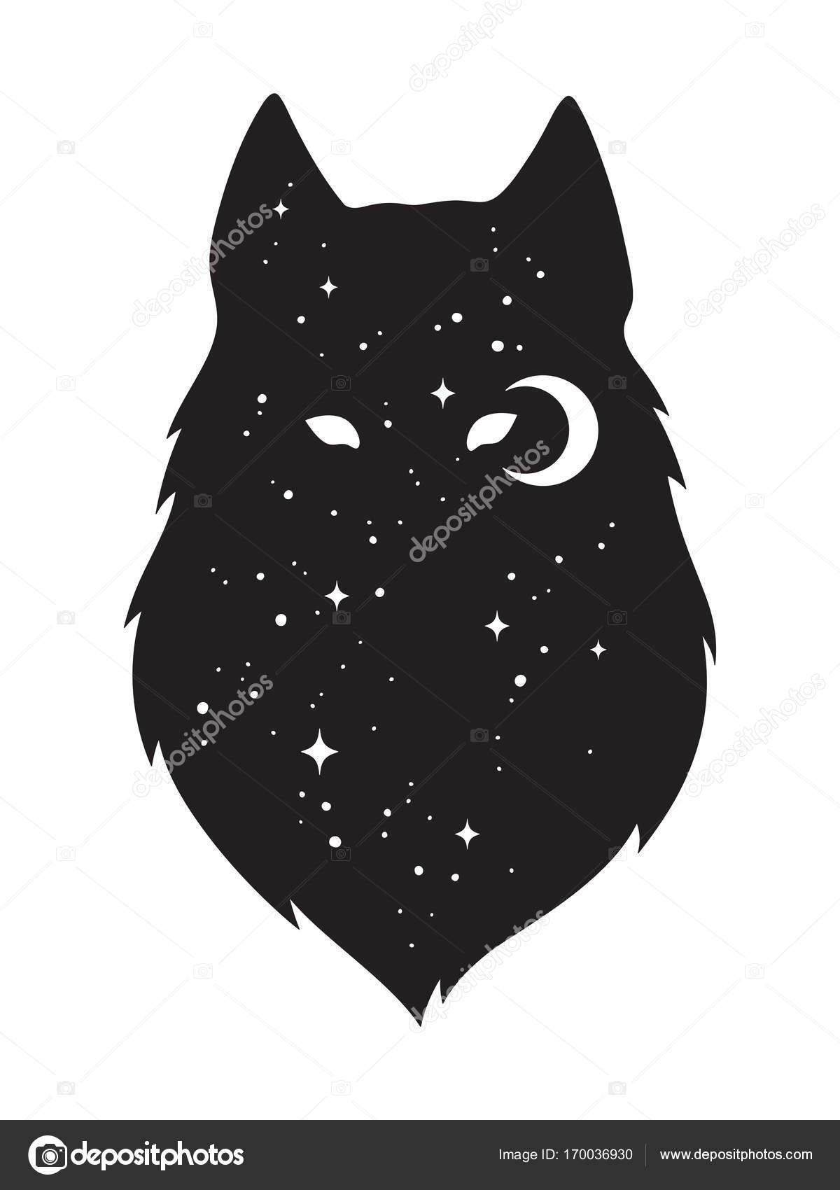 Lobo Dibujo Silueta Silueta De Lobo Con La Luna Y Las Estrellas