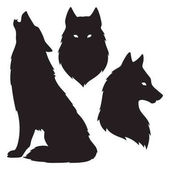 Farkas sziluettek elszigetelt halmaza. Matrica, a nyomtatás vagy a tetoválás design vektor illusztráció. Pogány totem, wiccan ismerős szellem art